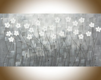 "Large wall art Black white wall art White flowers painting black white grey original artwork canvas art ""Mist Morning"" by qiqigallery"