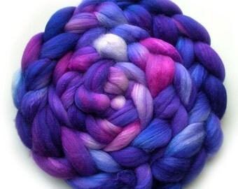 Silk and Polwarth Roving (40/60) Handdyed - Petunia, 5.4 oz.