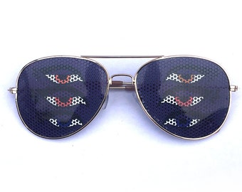 Shpongle six eyed pruple graphic aviator shades