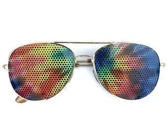 Graphic Tie-dye aviator shades