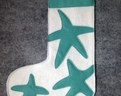 Teal Starfish Felt Stocking Small