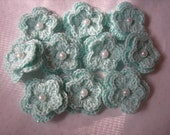 Crochet Flowers Double Layered in Aqua Sparkle set of 10