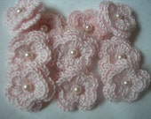 Crochet  Double Layered Flowers in Angel pink with white faux pearl centers set of 10