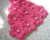 Crochet Flowers set of 10 double layered in Hot Pink with White Faux Pearls