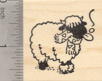 Holiday Valais Blacknose Sheep Rubber Stamp, in Snow E28912 Wood Mounted
