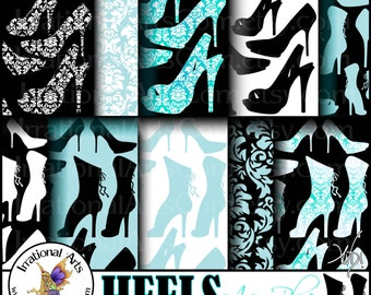 HEELS Aqua Blue set 4 - digital papers scrapbooking Victorian Corset Angelica Jane pumps boots [INSTANT DOWNLOAD]