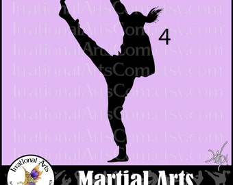 Martial Arts silhouettes 1 EPS & 1 SVG Vinyl Ready Image and 1 png digital files with 1 martial art poses  and SCL{Instant Download}