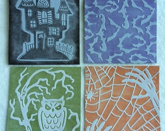 Halloween Ink Embossed Mats/Card Fronts...4 Piece Set of Chic and Scary Halloween Themed Ink Embossed Photo Mats and Cards Fronts