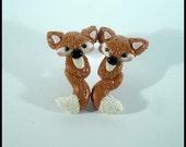 Polymer Clay Fox Earrings Stud Post