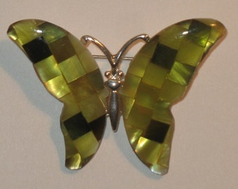 Beautiful Mosaic Yellow/Greenish Butterfly brooch and pin.