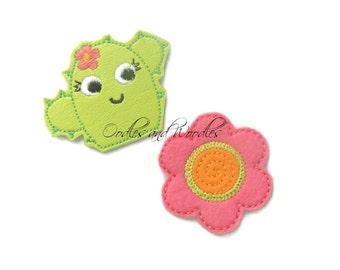 Cactus And Flower Felt Appliques, Lime Vinyl Cactus Felties, Flower And Cactus Appliques, Embroidered Felt Appliques, Coral Flower Felties