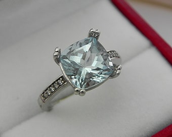 AAAA Santa Maria Blue Aquamarine Cushion cut 9x9mm 3.01ct  14K white gold Engagement Ring set with .25 carats of diamonds 0732