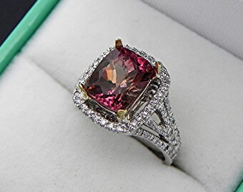 AAAA Bi Color Pink to peach Watermelon Tourmaline Cushion Cut 9x7mm 2.60 carats 14K White gold Diamond halo Engagement ring 1370 MMM