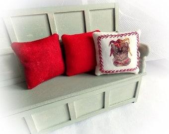 Miniature Pillows...1.12 Scale Cushions...3 Cushion Set...1 Inch Scale Pillows...Dollhouse Pillows