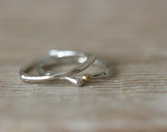 Silver Stacking Rings With 22ct Gold - Spora Rings
