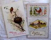 Vintage Easter Cards, Bird and Chicken on the Farm, Postcards (2)
