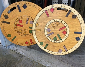 PAIR GAME BOARDS. Vintage, home made, wood, paint, handles, display, geometrics, ooak