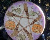 Ready to Ship Samhain Altar Tile Broom Pentagram