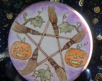Made to Order Samhain Altar Tile Broom Pentagram