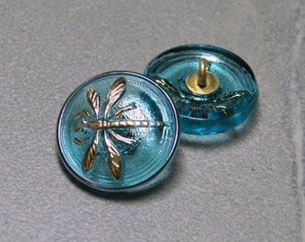 Aqua with Gold Dragonfly 18mm Glass Round Button with Brass Shank (1)