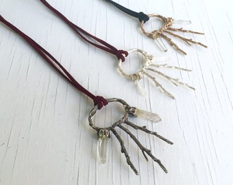 Silver and Crystal Oracle Amulet, Twig and Crystal Necklace