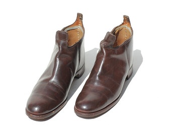 Vintage Men's Brown Leather slip on Shoes / Slip on Ankle Boots / size 9.5