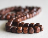 Dark Brown 5mm Four Sided Wood Beads 24 Inch Strand