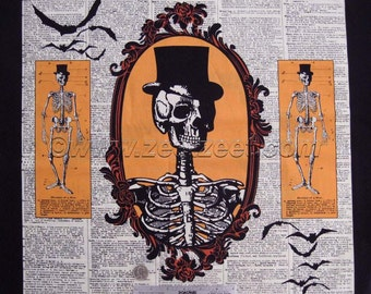 "CHILLINGSWORTH SPOOKY RIDE Orange Skeleton Cotton Quilt Fabric Panel 24"" wide x 44"" Long Black"