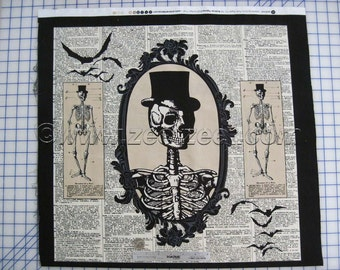 "CHILLINGSWORTH SPOOKY RIDE Cream Tan Skeleton Cotton Quilt Fabric Panel 24"" wide x 44"" Long Black"
