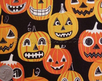 JACK O LANTERN Jr Black Orange PUMPKIN Quilt Fabric by the Yard, Half Yard, Quarter Yard Fq Alexander Henry Halloween Retro Pumpkins Yellow