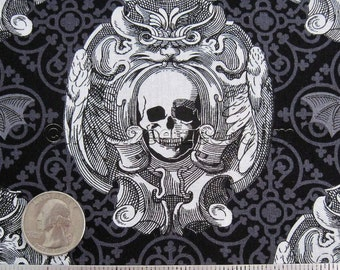Remnant Michael Miller GOTHIC SKULLS Gray Black Cotton Quilt Fabric - Precut Remnant 1/2 Yard - Goth Halloween Day of the dead Rockabilly