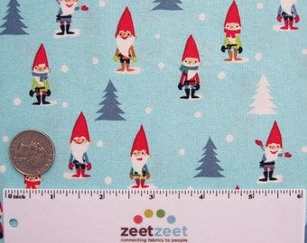 Michael Miller Many MINI GNOMES Aqua Blue Red White Green CHRISTMAS Holiday Gnome Quilt Fabric by the Fat Quarter Fq