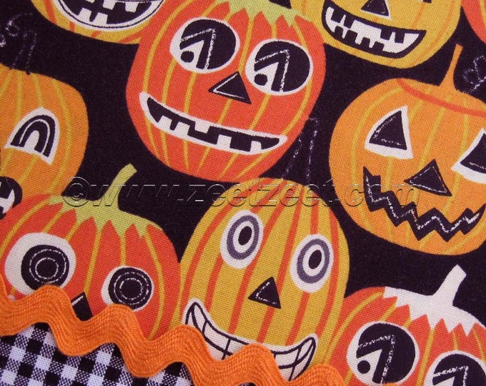 Sale JACK O LANTERN Jr Black Orange PUMPKIN Quilt Fabric by Yard, Half Yard, Quarter Yard Fq Alexander Henry Halloween Retro Pumpkins Yellow