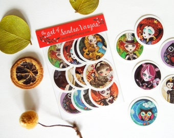 Art Sticker Pack #3, Set of 12 Stickers Labels Seals by Sandra Vargas Original Art