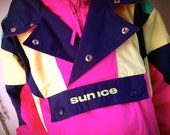 Vintage kids ski jacket sun ice eighties neon size 10 12