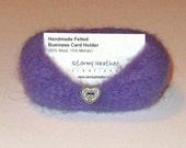 Handmade Felted Business Card Holder - Lavender - Wool & Mohair (BC1-004)