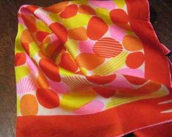 Gorgeous Jelly bean color Vera silk scarf in red yellow orange