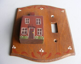 Vintage Wood Single Wall Switch Plate, Handpainted