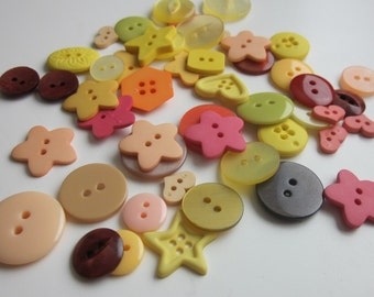 24 Mixed Plain Bright Summer Buttons