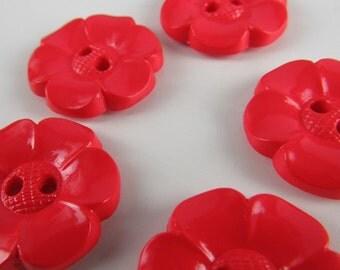 5 Medium Bright Red Flower Buttons