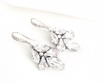 Swarovski Rhinestone Drop Bridal Earrings, wedding earrings, swarovski jewelry, art deco earrings for bride, jeweled earrings