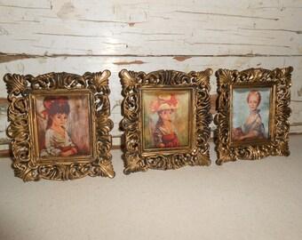 Vintage Miniature Plastic Satin Pictures, Vintage Ornate Pictures, Home Decor