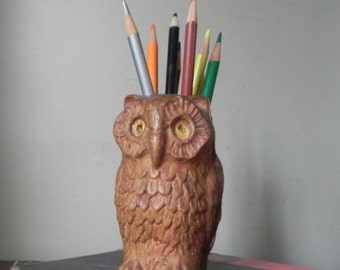 Vintage owl shaped pencil pen brush organizer cup composite material