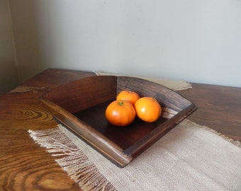 Vintage wood tray centerpiece fruit organizing box tray wood bowl mid century style