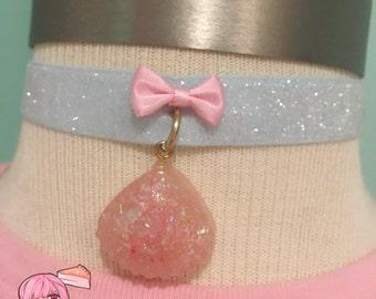 Kawaii Pearly Pink Mermaid Sea Shell Bow Ribbon Choker Necklace