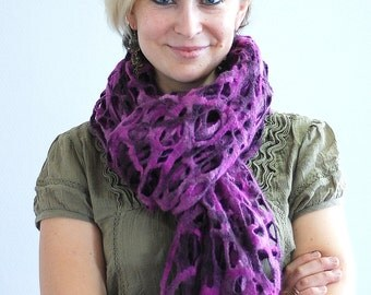 Felted cobweb scarf wrap shawl purple from Merino wool thin and soft HANDMADE TO ORDER