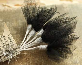 Black Tulle Millinery Sprays -  Wired Jet Black Tulle Stems  - Wedding Corsage and Boutonniere Supply - Halloween Craft Supply