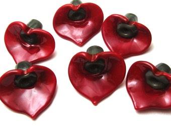 Red Lily Glass Flower Beads handmade artisan lampwork