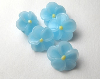 Lampwork Glass Beads BABY BLUE FLOWERS handmade jewelry supplies buttons sra