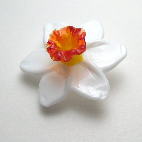 DAFFODIL FOCAL, Sculptural Lampwork Glass Flower Bead - unique handmade jewelry design floral